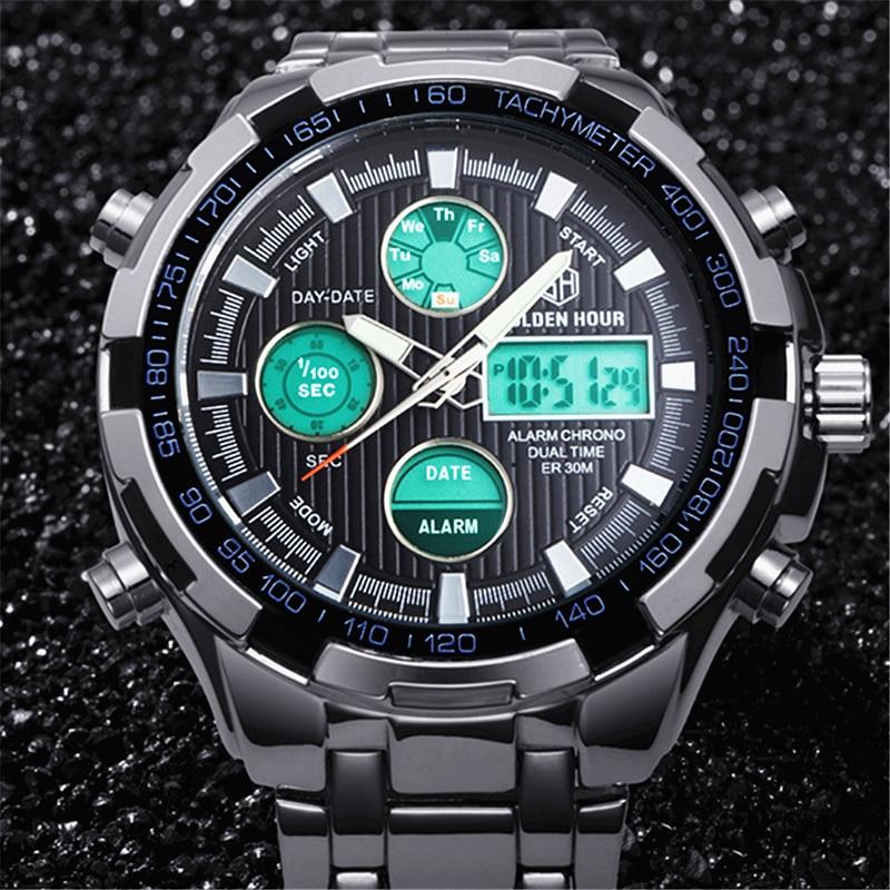 golden hour new luxury brand men army military quartz watch men u0026 39 s led digital male clock full