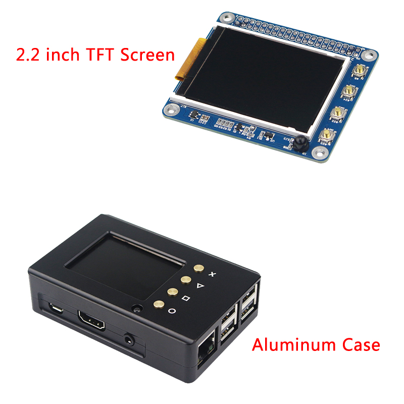 Raspberry Pi 3B + kit d'écran 2.2 pouces PPI TFT LCD écran avec boîtier en aluminium boîtier boîtier pour Raspberry Pi 3/2