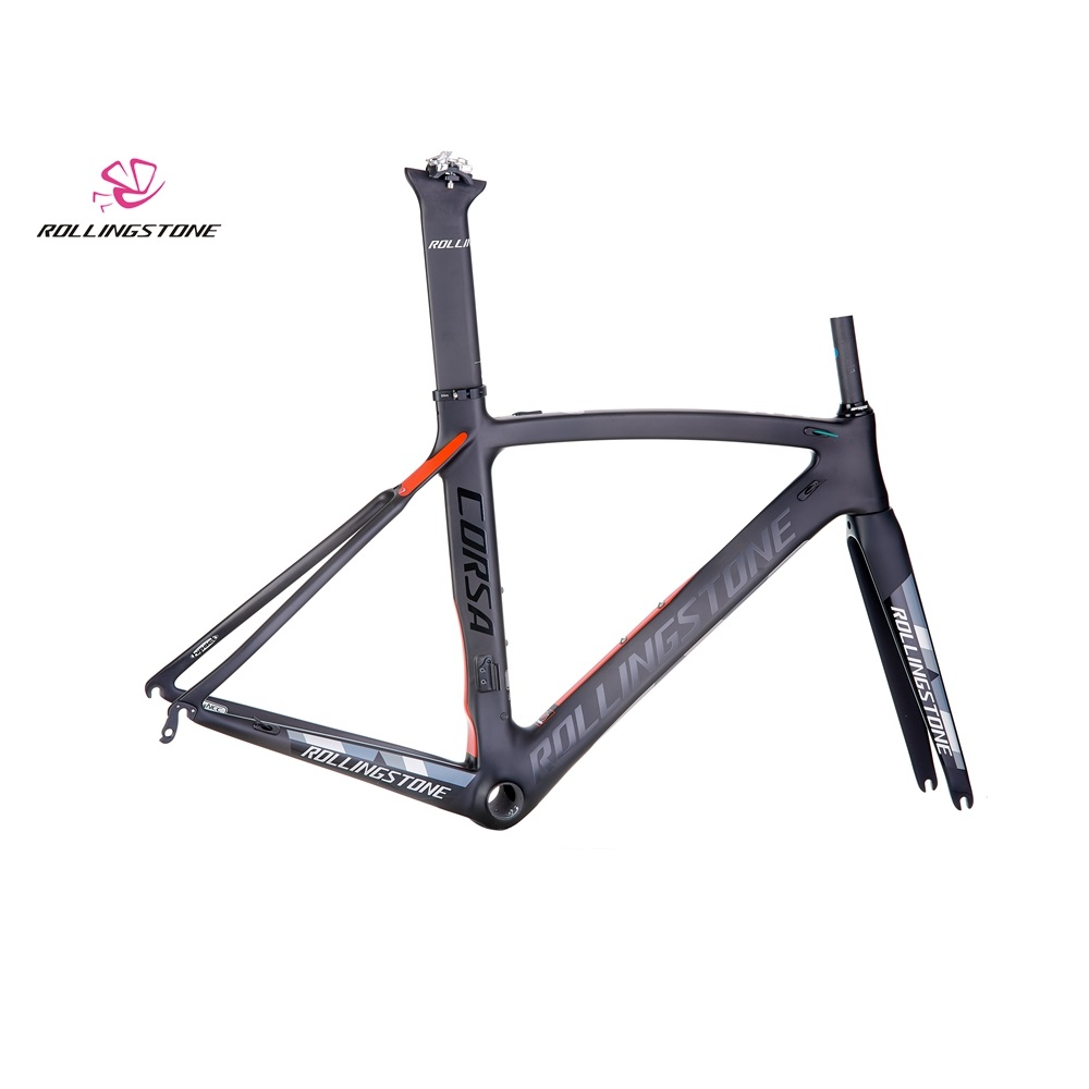Rolling Stone Corsa Aerodynamic Road Carbon Frame Set Black Red 46cm UCI Certified Road Bicycle Frame Bike Frame