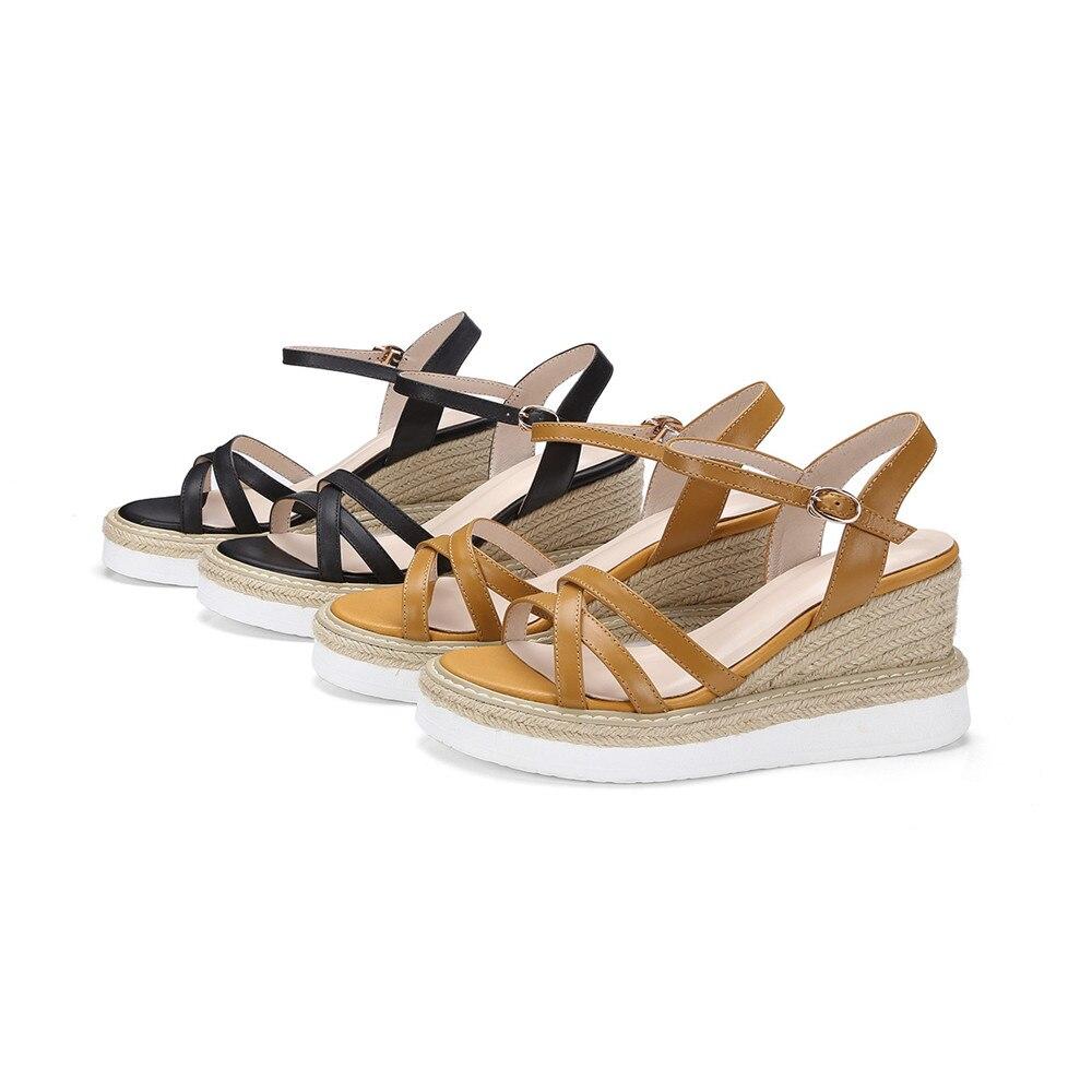 Sommer Elegante Mode Echtem Schuhe Plattform Apricot Leder Schwarz Frauen Sandalen Schnalle High Zwängt Heels schwarzes Frau Aus Asumer Neue qFEwBO45O0