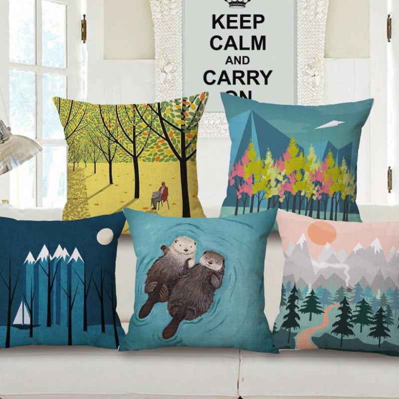 free shipping wholesale custom simple cartoon series cotton linen decorative pillow bed sofa car seat backrest cushion