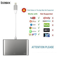 BASIX Lighting To HDMI VGA Cable For IPhone To HDMI Audio TV AV Adapter Cable USB