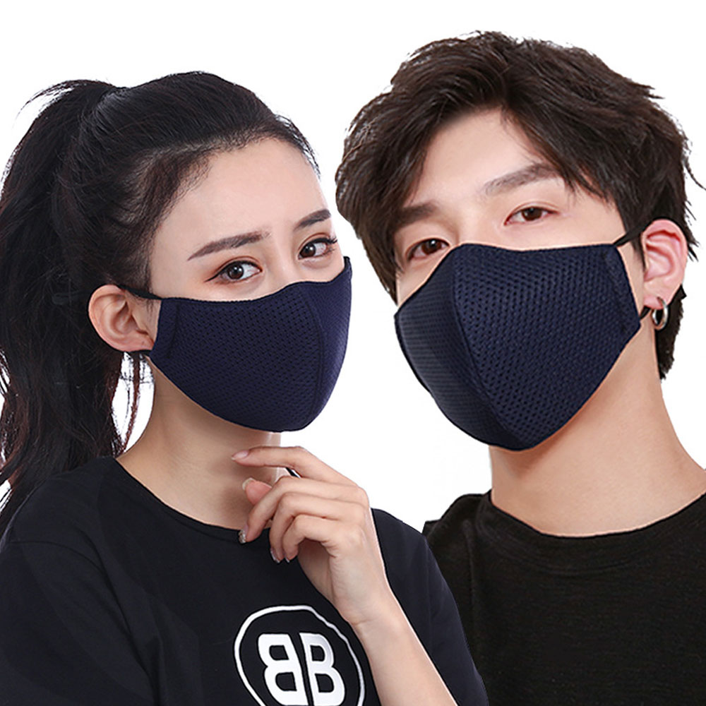 1 Pcs Mode Mund Maske Unisex Sommer Sonnencreme Atmungs Dünne Mesh Baumwolle (schwarz/grau/blau)