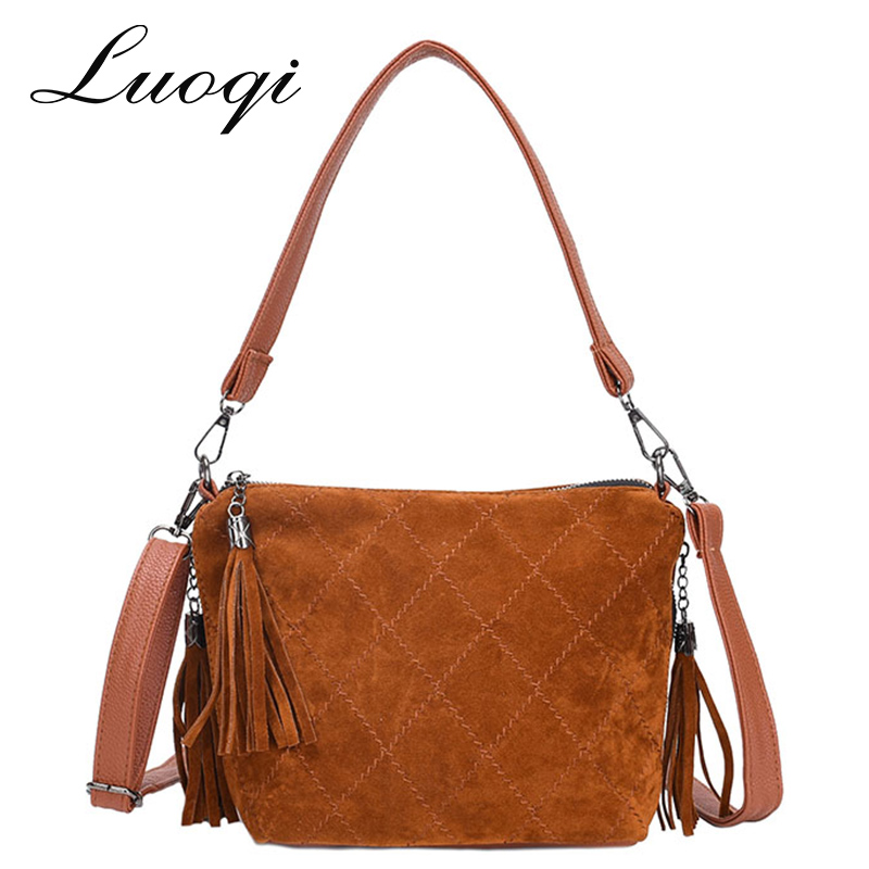 Luoqi Tassel Bags for Women 2018 Faux Suede Leather Handbag Women Messenger Bag Vintage Shoulder Bag Bolsa Feminina Sac A Main 2018 women messenger bags vintage cross body shoulder purse women bag bolsa feminina handbag bags custom picture bags purse tote