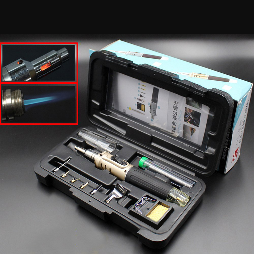 Soldering Iron Automatic Ignition Butane Cordless 10 In 1 Welding Torch Tools Kit Electric Gas Soldering Set Blow Torch Pen