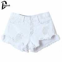 DayLook 2015 Summer White High Waist Button Ripped Denim Shorts MiniHot Pants Denim Shorts Jeans New