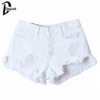 DayLook 2015 Summer White High Waist Button Ripped Denim Shorts MiniHot Pants Denim Shorts Jeans New