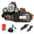 LED Headlamp 6000 Lumen CREE XM-L T6 Headlight Caming Hunting Head Light Lamp 4 Modes +2*18650 Battery + AC/Car Charger
