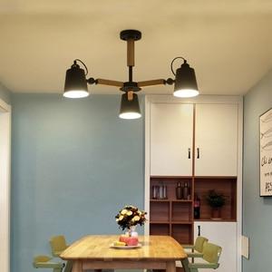 Image 5 - Lampadario a LED E27 a testa girevole in legno nordico luce in ferro bianco e nero per sala da pranzo soggiorno camera da letto hotel appartamento