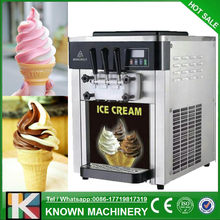 The 220V / 110V of 3 flavors table top soft serve ice cream machine / ice cream making machine
