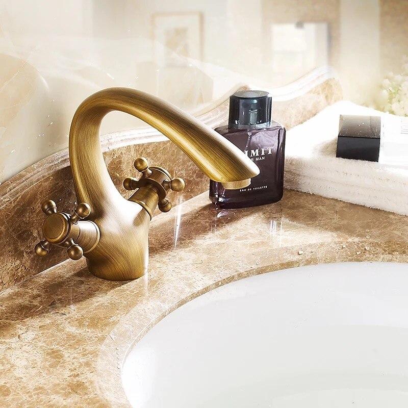 BAKALA laiton massif bronze double poignée contrôle torneira antique robinet cuisine salle de bains bassin mitigeur robinet antique GZ7302