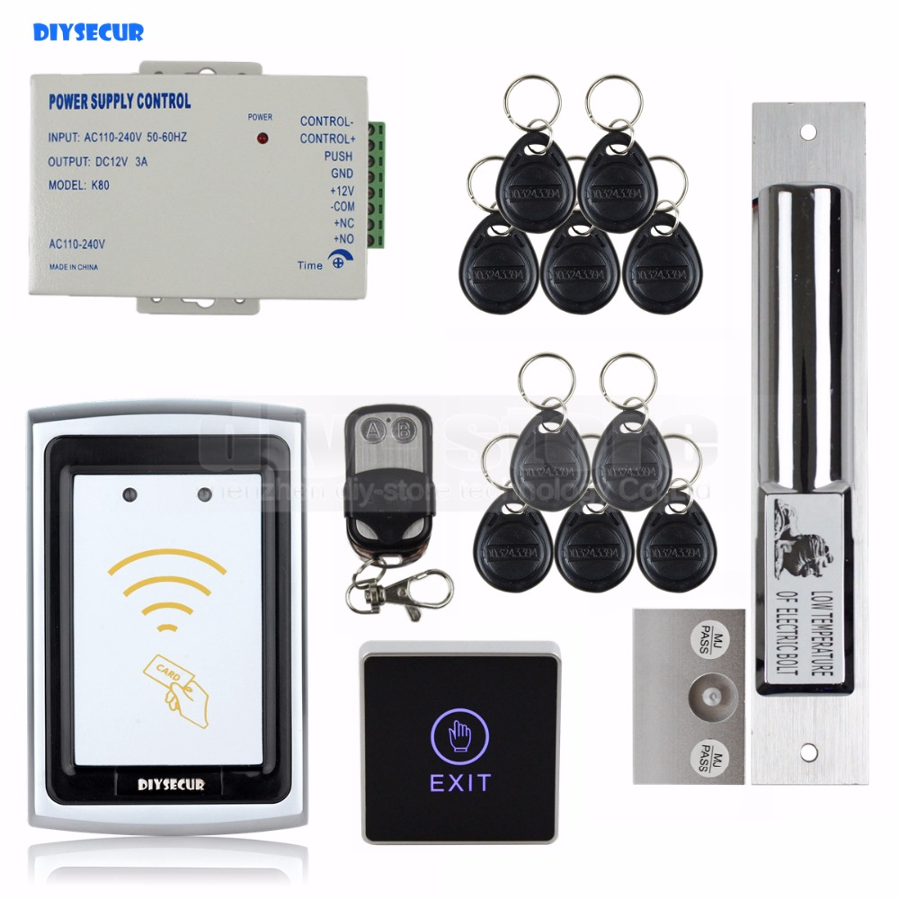 DIYSECUR Electric Bolt Lock Remote Control 125KHz RFID Reader No Keypad Controller Door Access Control Security System diysecur magnetic lock door lock 125khz rfid password keypad access control system security kit for home office