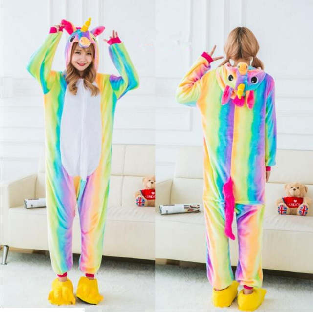0a4b0d046 placeholder VANLED 2017 casais rainbow estrelas homewear pijama unicornio  quente sleepwear flanela macia com capuz Animal
