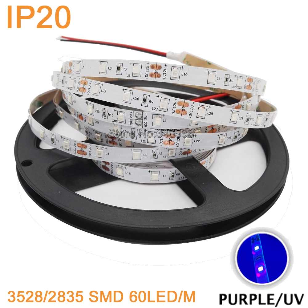 5m DC12V 3528 2835 60LED/M UV 395nm - 405nm Ultraviolet IP20 Non-Waterproof Purple LED Flexible Strip Light Tape Black Lamp