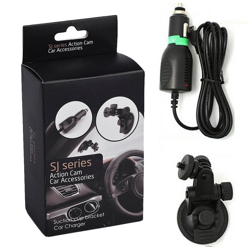 Car Charger Mini Suction Cup Camera Holder For Sjcam SJ4000 car swivel suction cup mount holder with car charger for htc one s z520e