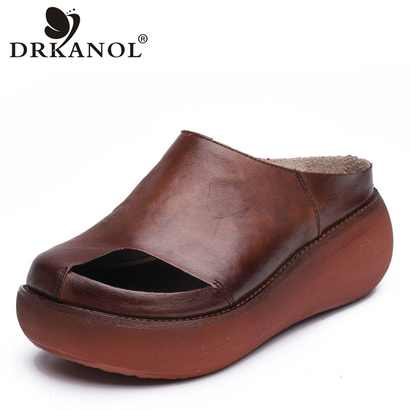 DRKANOL Summer Slippers Women Casual Shoes 2019 Retro Handmade Genuine Leather Wedge Platform Slippers Peep Toe