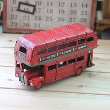 Retro Bus Vintage Figurine Miniatures Double-layer Red Handmade Iron Car Model Craft Kids Toy Gifts Present