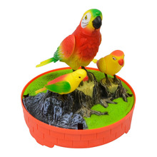 Sound Voice Control Electric Bird Pet Toy Simulation Three Birds Induction Cage Garden Ornaments Home Decoration