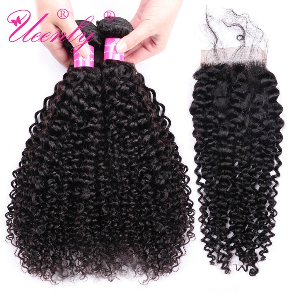 UEENLY Curly Hair Closure 100%Human-Hair-Weave-Bundles 3-Bundles Hair-Extensions Peruvian