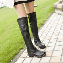 New 2014 Big size 34- 44 winter boots black+brown Fashion PU leather boots Women's boots Over The Knee High autumn Boots