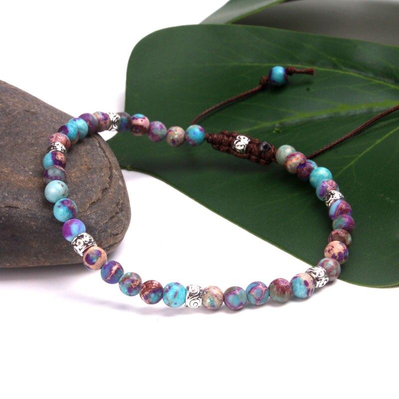 Premium Beads Skinny Bracelets Stone Japser Fancy Friendship Bracelets Lovers Couples Yoga Bracelet Jewelry dropshipping(China)