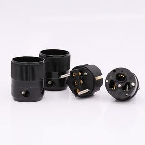 Image 5 - 24k pozłacana wersja ue wtyczka zasilania IEC siła żeńska wtyczka zasilania dla złącza przewodu moc dźwięku, Schuko zasilanie prądem zmiennym wtyczka zasilania + IEC power conne