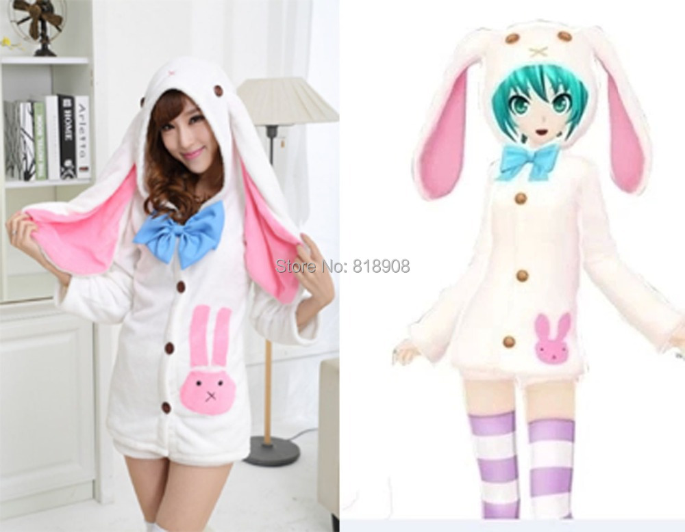 Hatsune Miku Pajamas V MIKU big Rabbit ears Japenese cartoon anime women cosplay