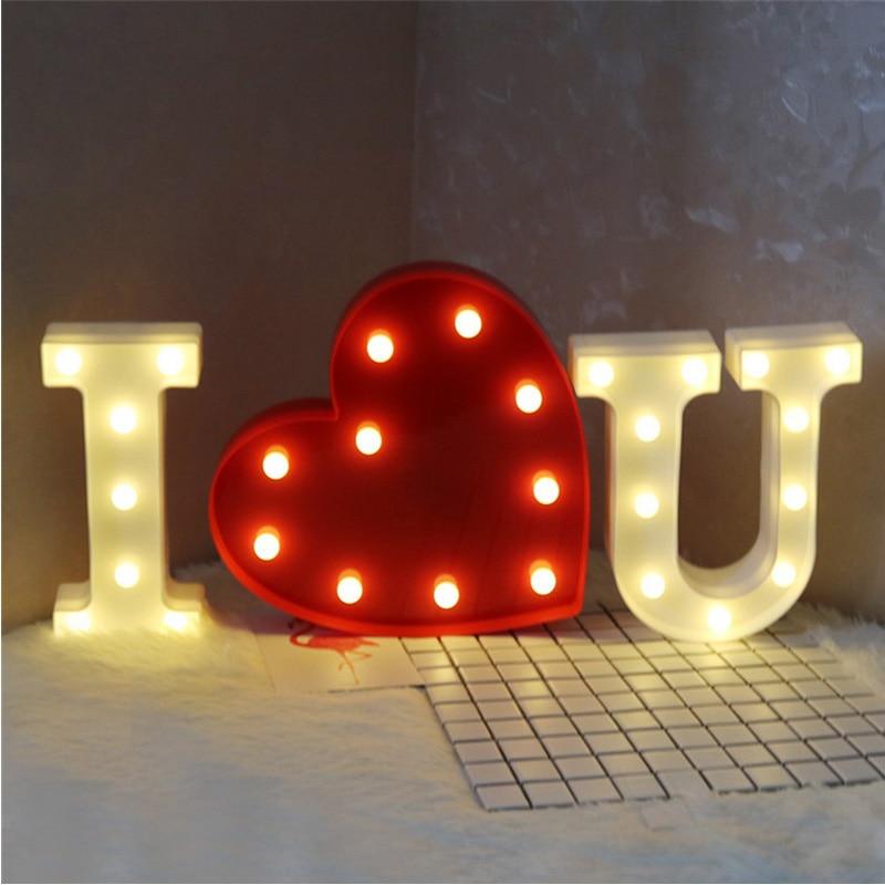 Ins 26 букв белый свет в ночь знаковое событие Алфавит стол Xpress Крытый День рождения Свадебная вечеринка Спальня Настенный декор