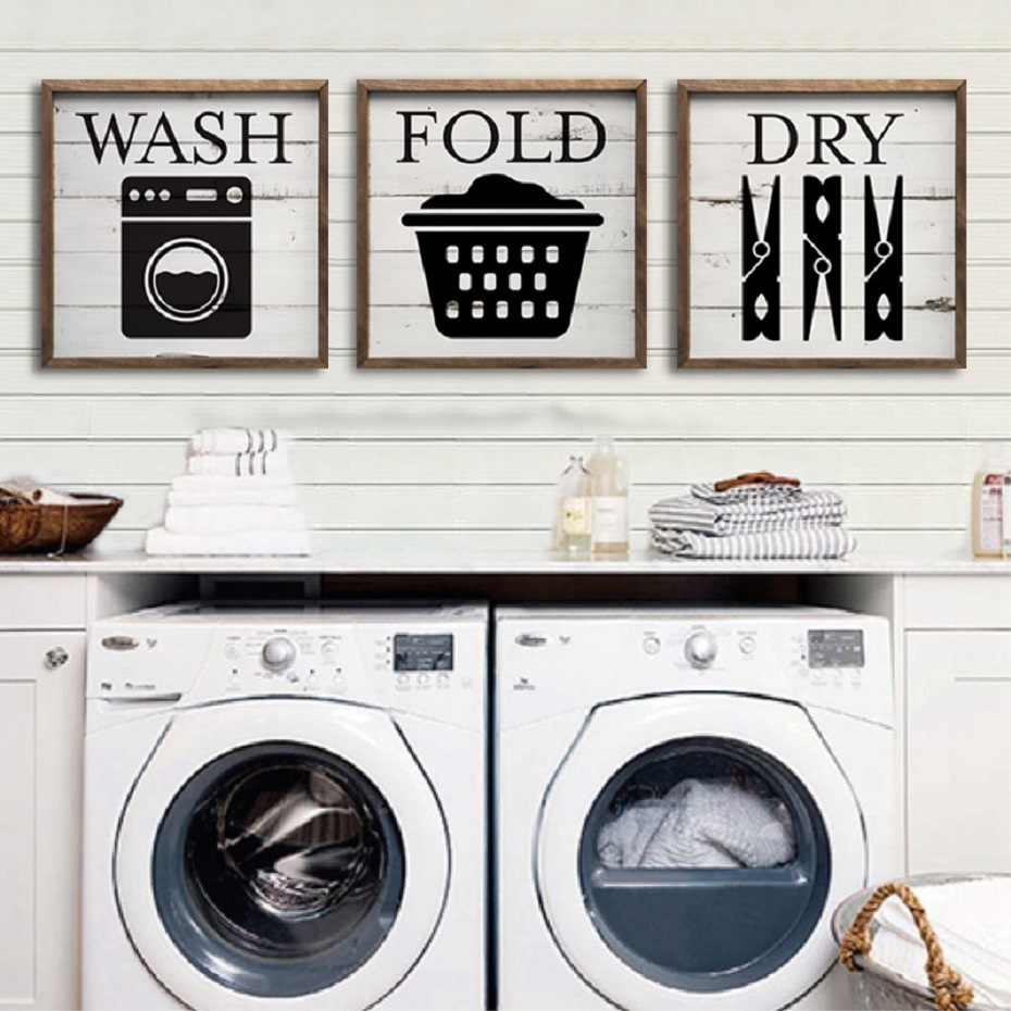 Hot DIY Framed Laundry Room Wash Fold Dry Canvas Paintings Wall Art Prints Posters Inner Pictures Frame Kids Room Home Decor