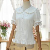 Sweet Lolita Shirt Short Puff Sleeve Flower Embroidered Peter Pan Collar White Ruffle Blouse