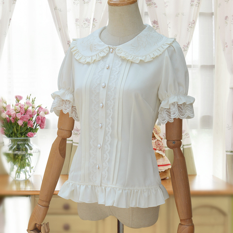 Sweet Lolita Shirt Short Puff Sleeve Flower Embroidered Peter Pan Collar White Ruffle Blouse