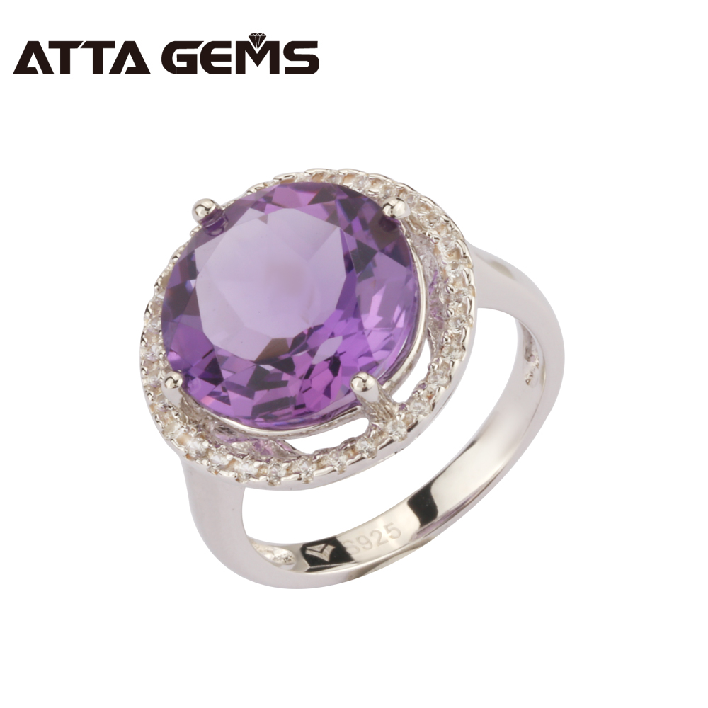 Natural Amethyst Sterling Silver Ring Fos