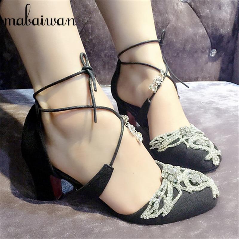 ФОТО Cute Rhinestone Thick High Heels Wedding Dress Shoes Woman Lace Up Gladiator Sandals Pink Suede Women Pumps Valentine Shoe