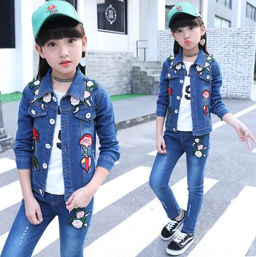Kids Girls Denim Clothing Set  Autumn Children Long Sleeves Flower Denim jacket +Pants 2-Piece Suit Baby Girl Clothes Sets