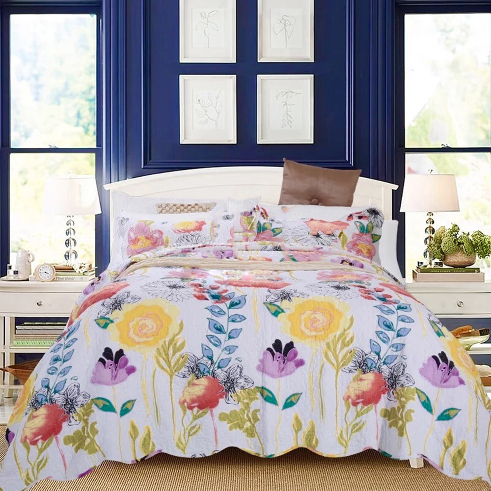 CHAUSUB Cotton Bedspread Quilt Set 3pcs Coverlet Flowers Printed Quilts quilted Bed Cover Sheets Pillowcase King Queen SizeCHAUSUB Cotton Bedspread Quilt Set 3pcs Coverlet Flowers Printed Quilts quilted Bed Cover Sheets Pillowcase King Queen Size