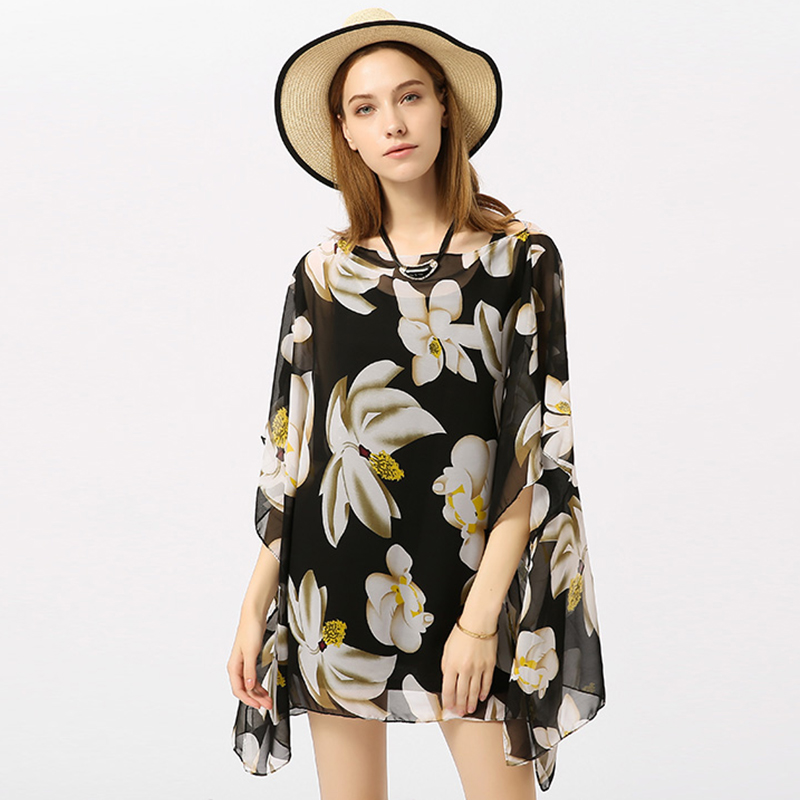 Bikini Cardigan Floral Print Swimsuit Robe De Plage Beach Blouse Women Chiffon Shirt 2018 Summer Top Bathing Suit Beach Wear