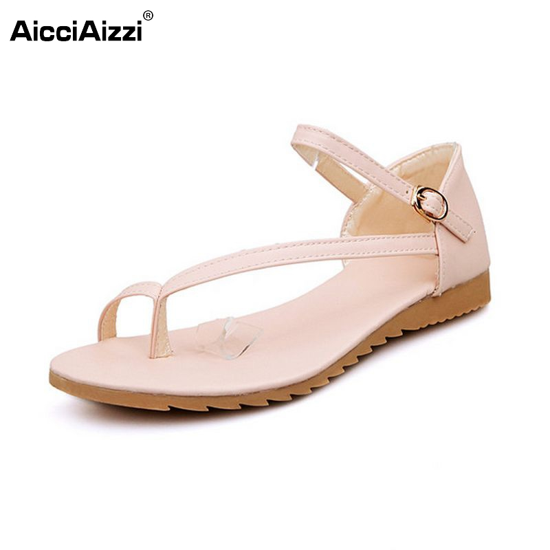 Size 34-43 Women Flats Sandals Ankle Strap Shoes Woman Flat Sandalias Fashion Flip Flops Ladies Clip Toe Beach Footwear PA00240