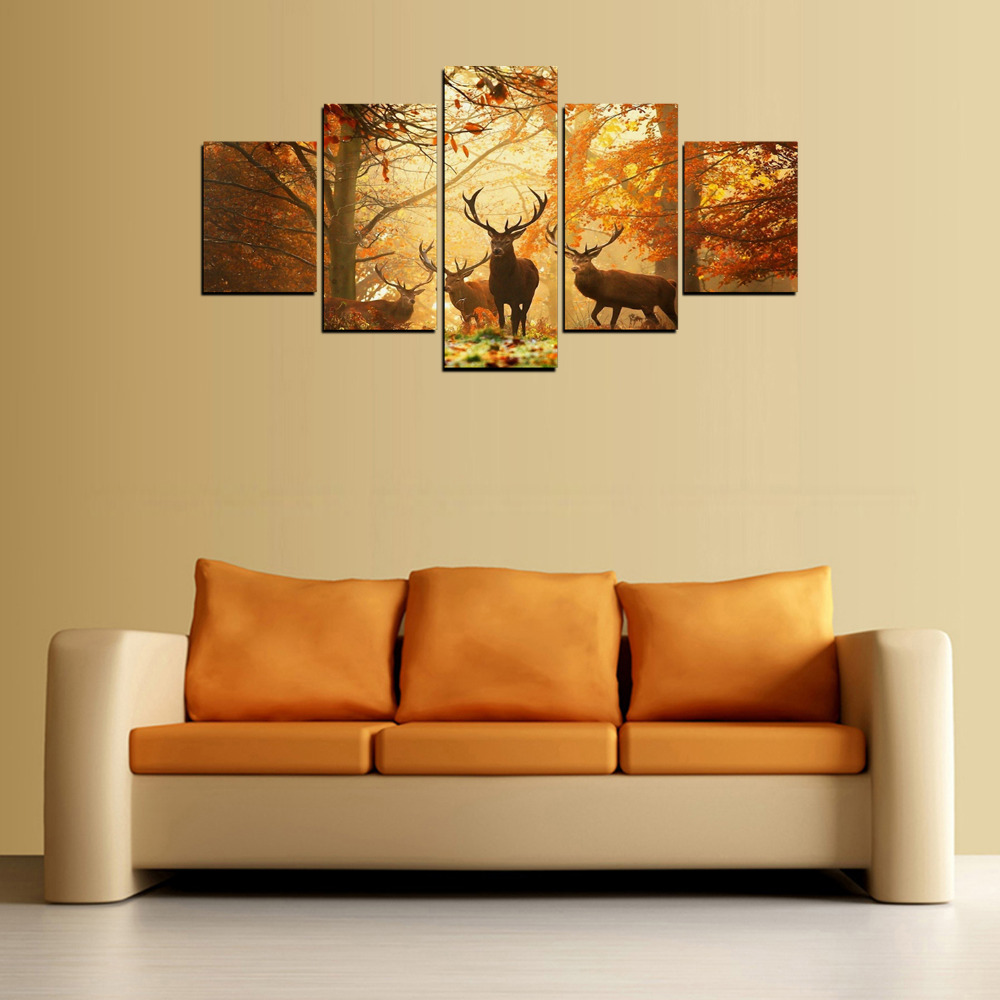 5 Panels Family of ReinDeer Canvas Print Painting for Living Room ...