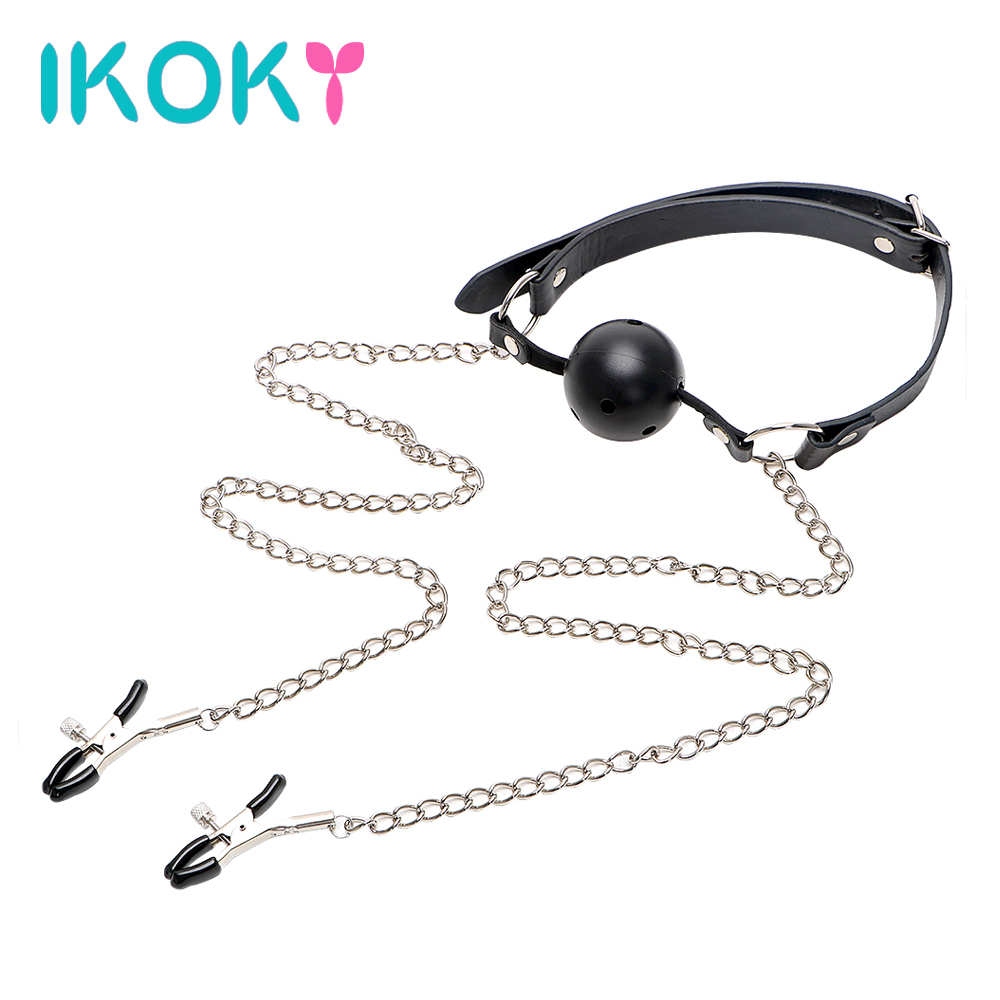 Ikoky Open Mouth Ball Gag With Nipple Clamp Breast Lip Stimulator Sex Toys For Women Men Couple Oral Fixation Adult Games