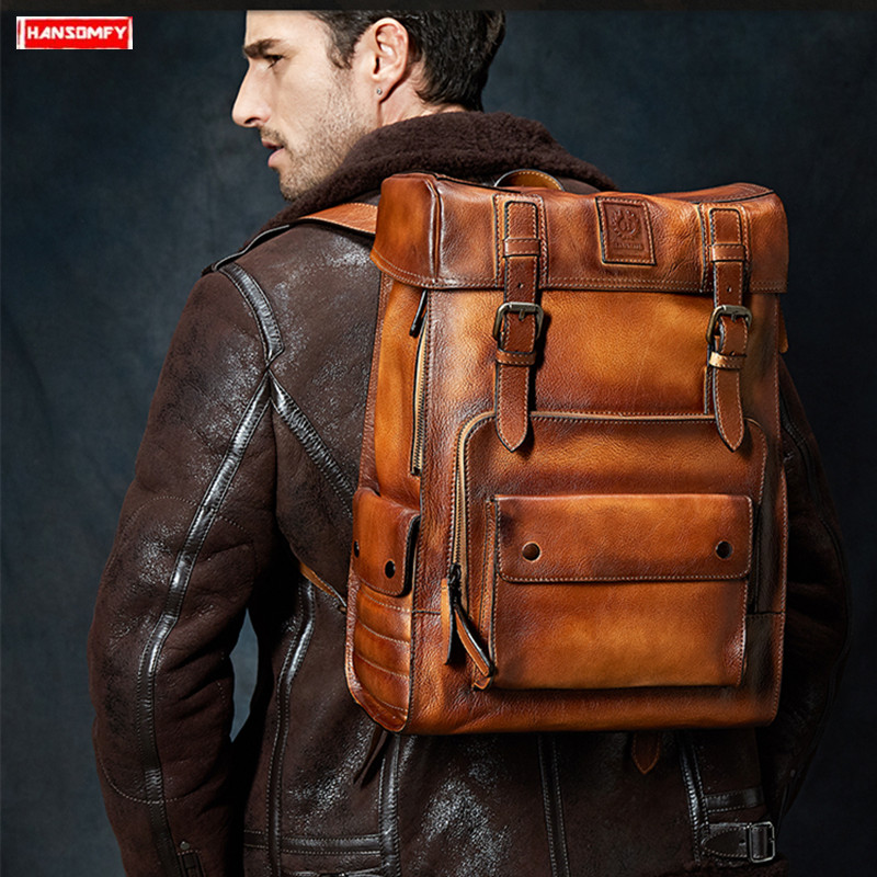 Marque de luxe grande capacité vintage daim cuir hommes sac à dos voyage sac à bandoulière pleine peau de vache en cuir véritable hommes sacs à dos