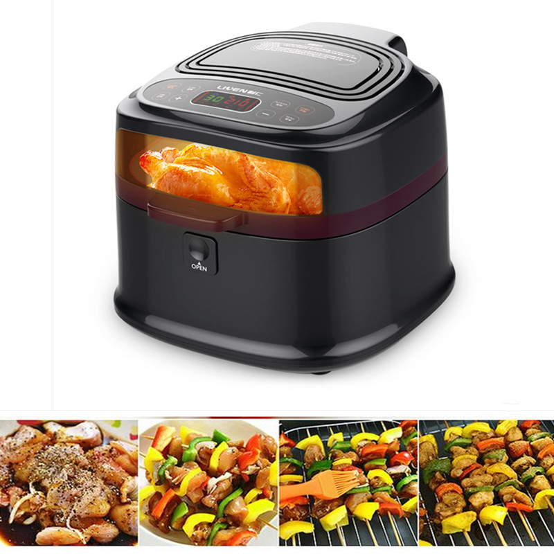 220V Multifunctional Electric Fryer Smokeless Household French Fries Maker Electric Commercial Fryer Machine With Visual Wndow commercial 5l churro maker machine including 6l fryer