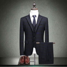 MarKyi fashion 2018 spring black tuxedo suits for men good quality plaid wedding slim fit groom tuxedos