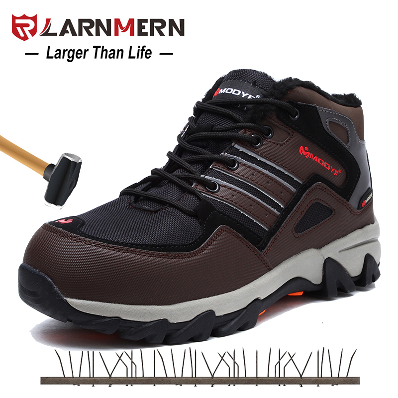LARNMERN Men Safety Shoes Steel Toe Winter Warm Fur Snow Ankle Boots Reflective Stripe Outdoor Special