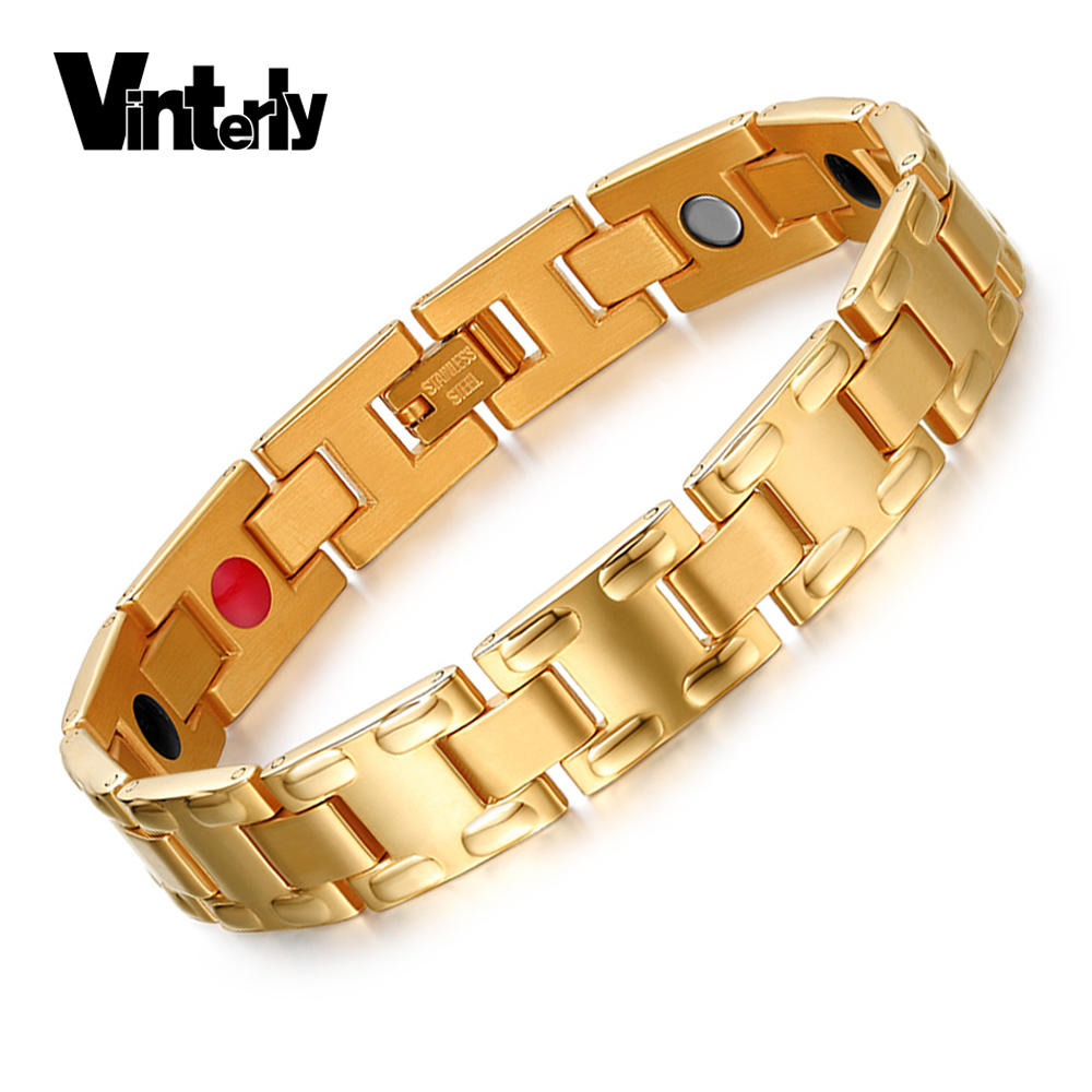 Vinterly Mens Bio Magnetic Bracelet Chain Health Energy Gold-color Germanium Stainless Steel Bracelets & Bangles for Men JewelryVinterly Mens Bio Magnetic Bracelet Chain Health Energy Gold-color Germanium Stainless Steel Bracelets & Bangles for Men Jewelry