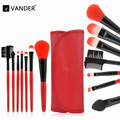 Vander Profesional 7 Unids Pinceles de Maquillaje Bolsa de Cosméticos Set Herramientas Eyeshadow Makeup Cosmetic Blush Brush Styling Kit + Caja Roja