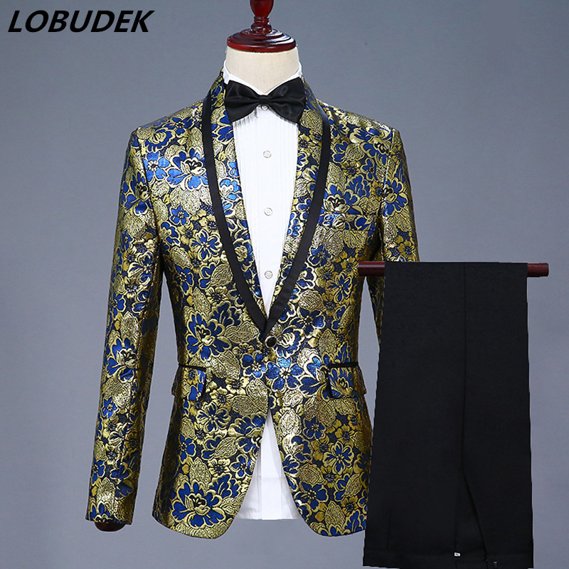 Fashion Gold Blue Color Men Jacquard Suits Formal Prom Party Stage Costume Wedding Groom Studio Clothing Bar Host Show Outfits