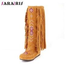 SARAIRIS 2019 Autumn Winter 34-48 Hot Sale Bohemia Fringe Knee High Boots Women Fashion Embroider Casual Shoes Woman