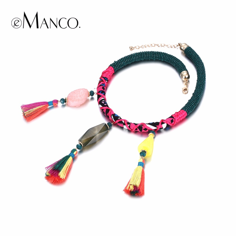 eManco Handmade Chokers Necklaces for women Bohemian Ethnic Tassel & Resin Pendant Necklace Brand Jewelry