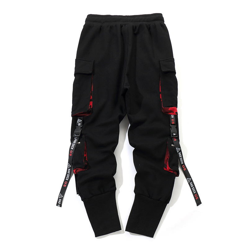 Men Black Pocket Work Cargo Pants Combat With Pockets Buckle Straps Techwear Harajuku Sweatpant Hip Hop Trousers