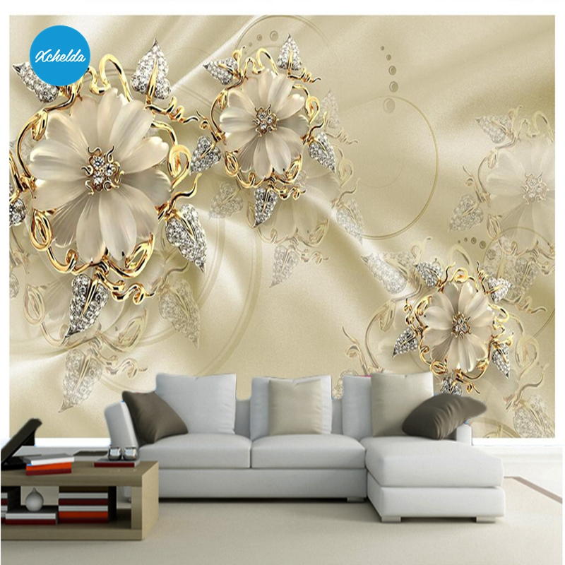 XCHELDA 3D Mural Wallpapers Custom Painting Diamond Flower Design Background Bedroom Living Room Wall Murals Papel De Parede custom 3d wall murals wallpaper luxury silk diamond home decoration wall art mural painting living room bedroom papel de parede